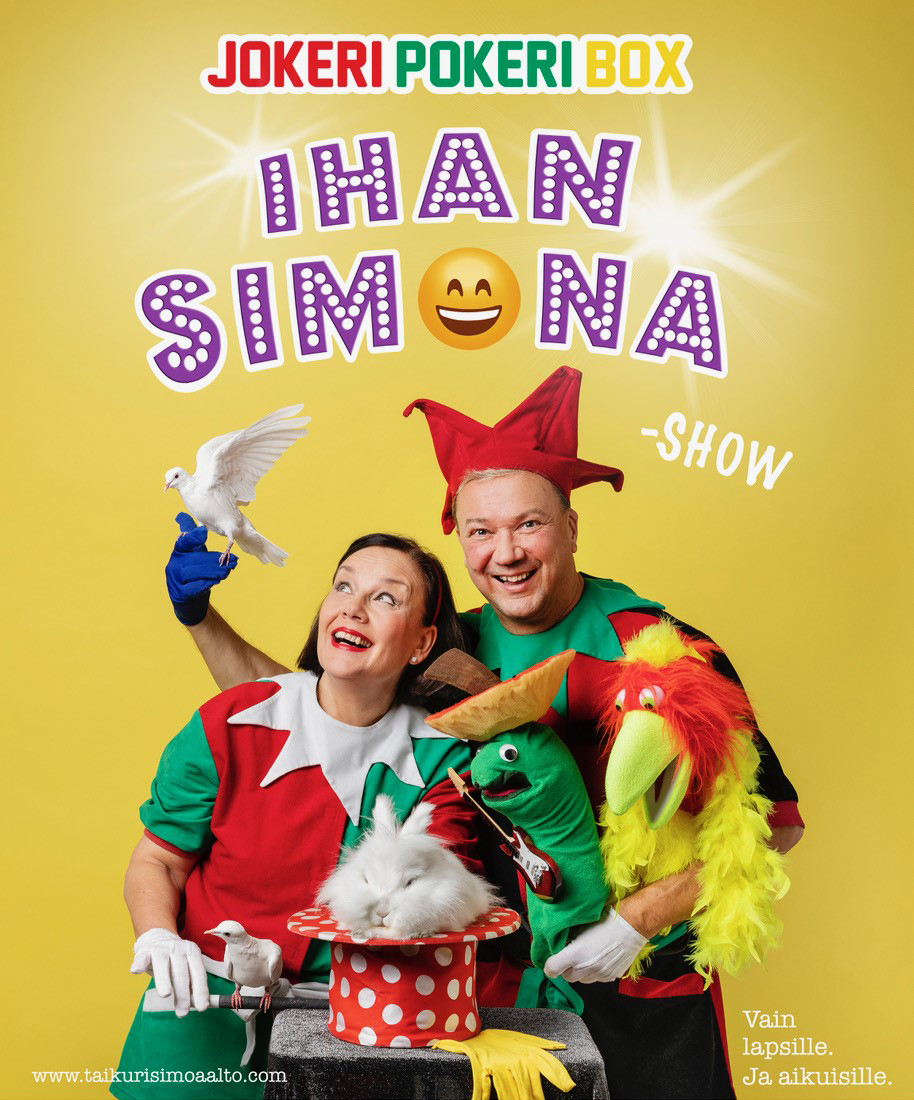 Jokeri Pokeri Box - ihan Simona! -julistekuva, nauravaiset Simo ja Kirsti